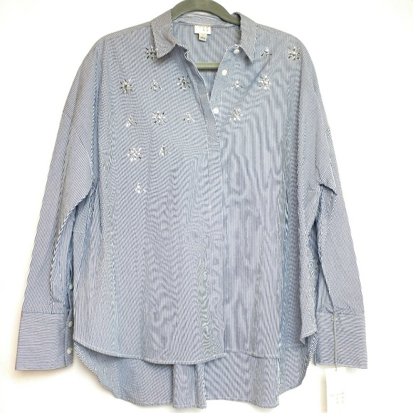 7133901d Button Down Embellished Blouse Striped Blue White. Boutique. a new day